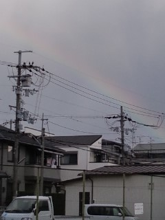 曇り空の中の虹